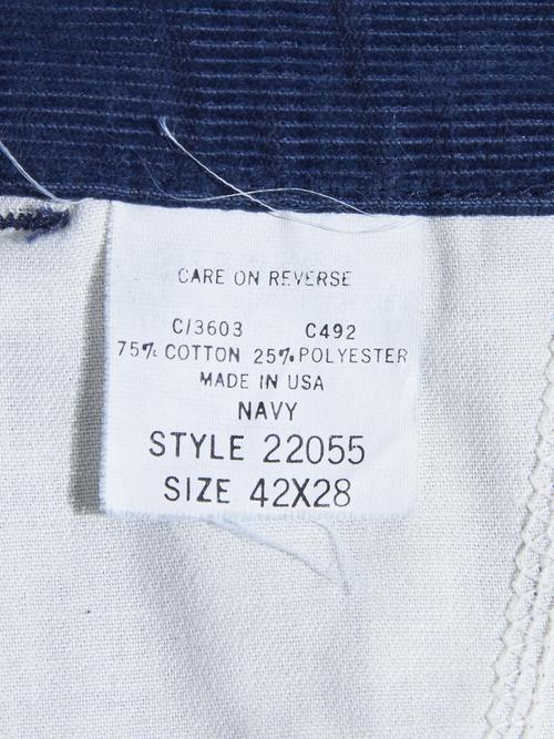 "NOS 1980s ""unknown"" custom tuck corduroy easy pants -NAVY-"