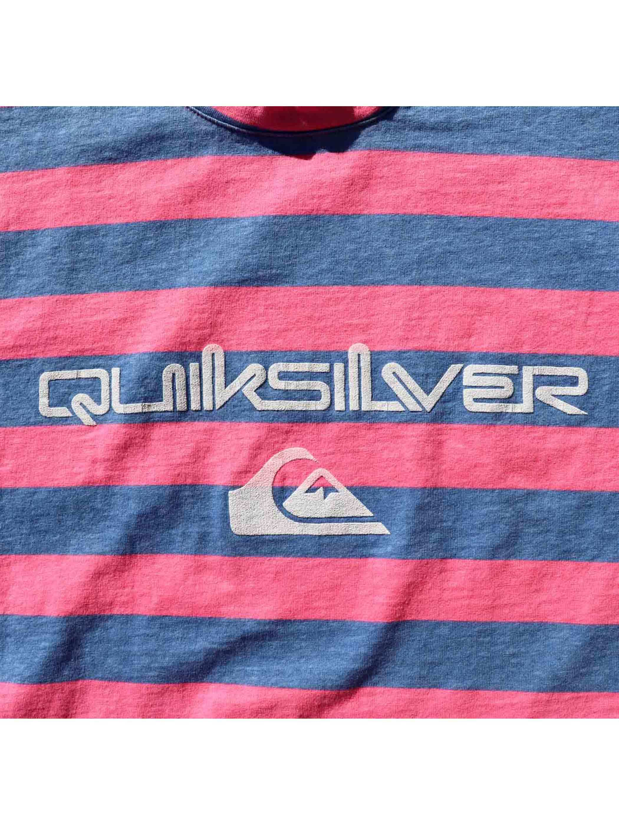 80's QUIKSILVER ピンク×ブルー プリントボーダーTシャツ [M]