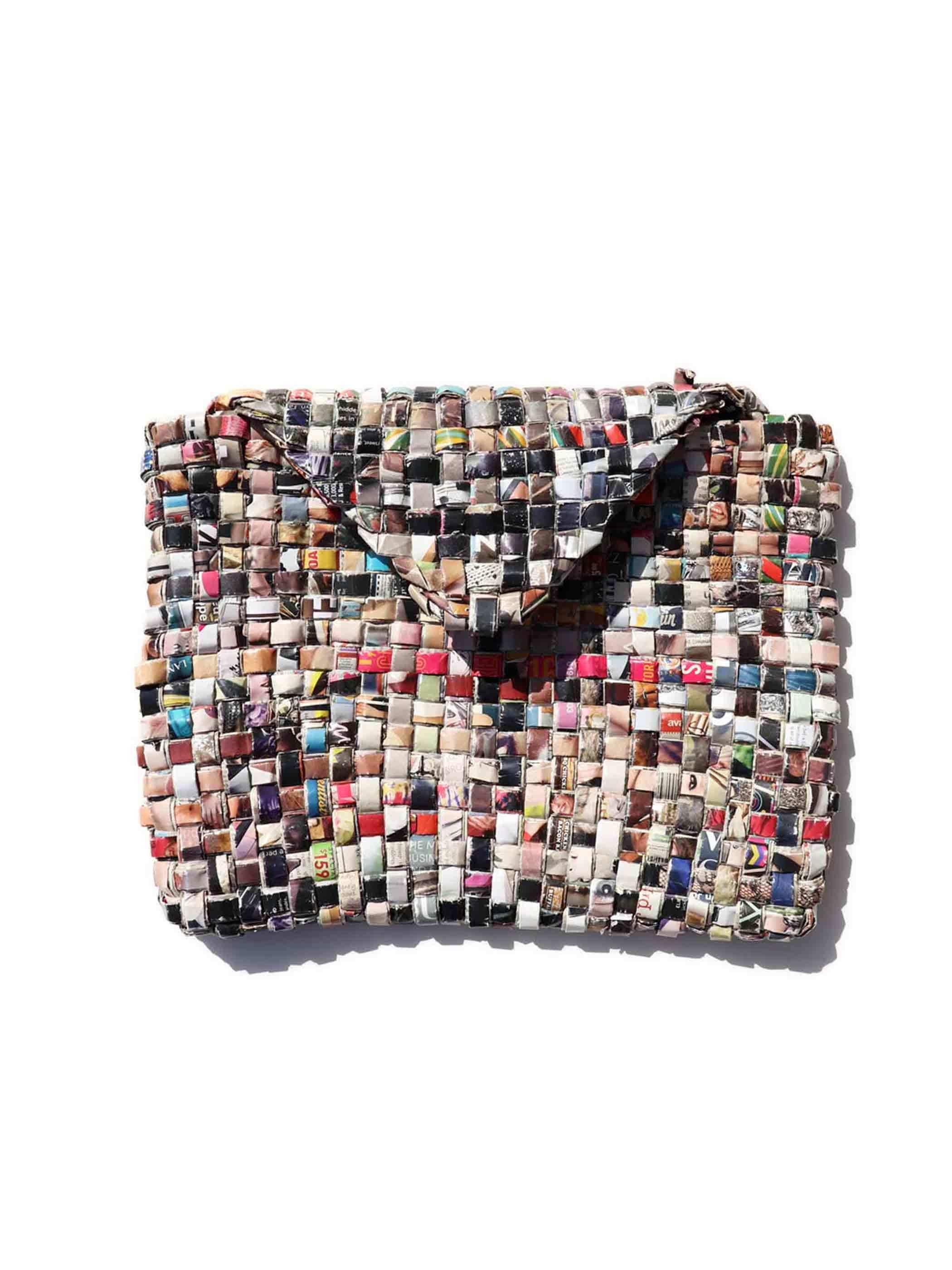 UNKNOWN ハンドメイド 編み込み ペーパークラッチバッグ