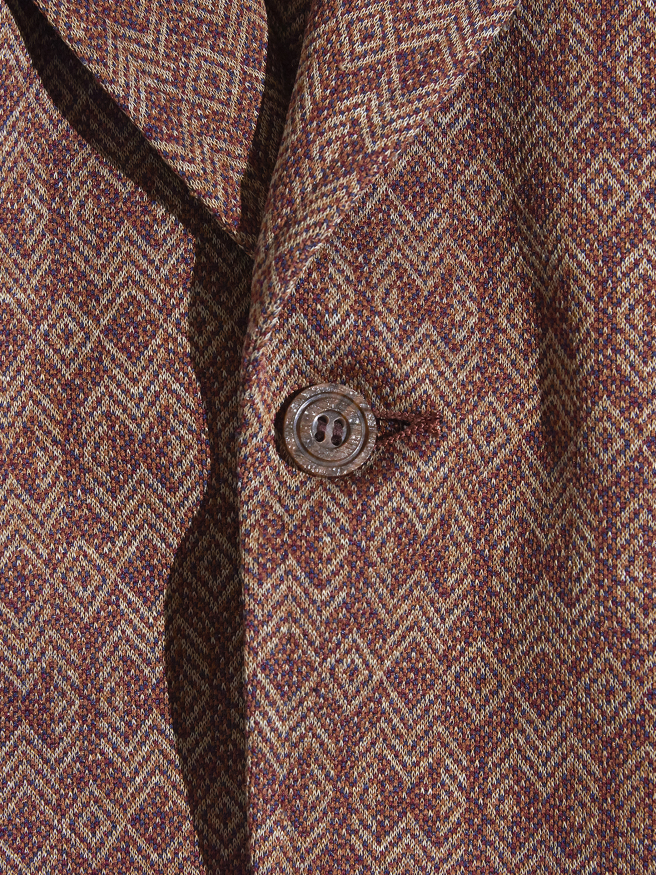 "1970s ""Richman BROTHERS"" polyester jacquard pattern tailored jacket -BROWN-"