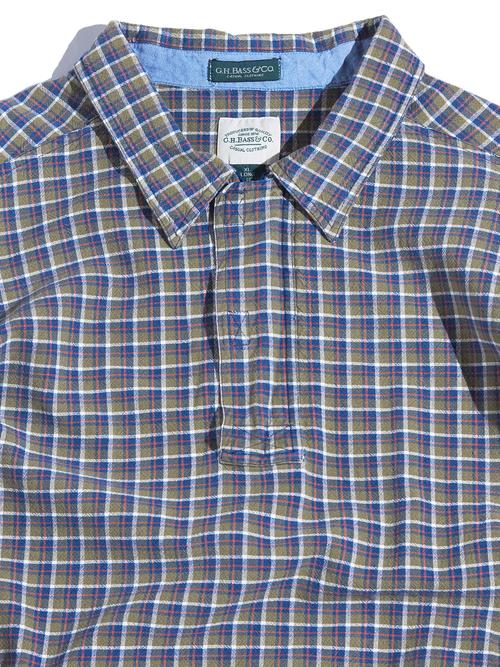 """1990s """"G.H.BASS & Co."""" pullover shirt jacket -KHAKI-"""