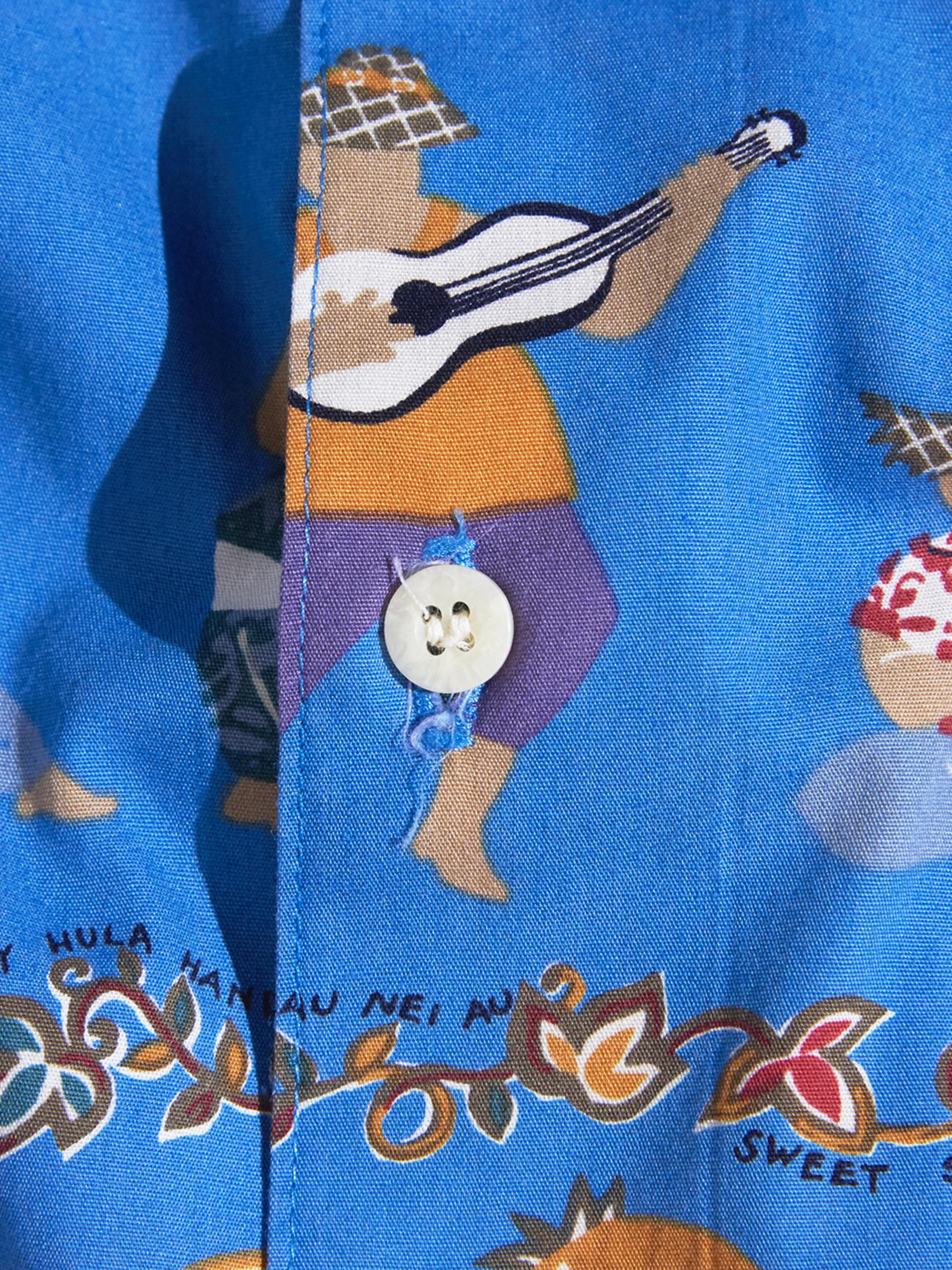 "1980s ""reyn spooner"" s/s cotton aloha shirt -BLUE-"