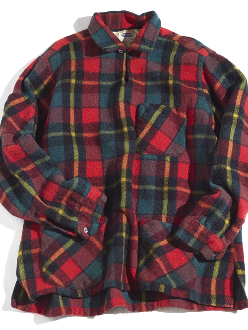 "1960s ""PILGRIM"" pullover wool check shirt -RED-"