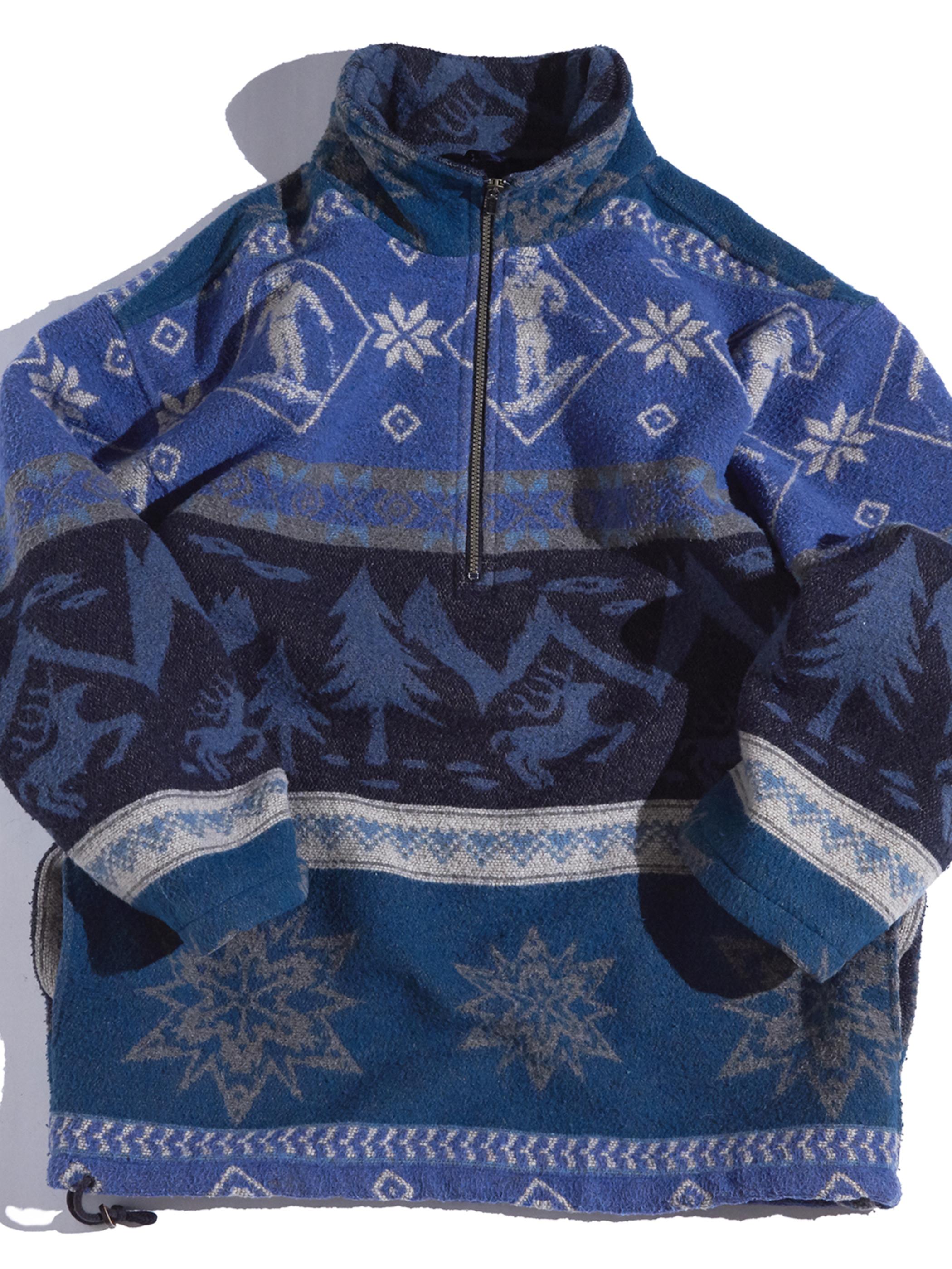 """1980s """"L.L.Bean"""" half zip fleece jacket -BLUE-"""