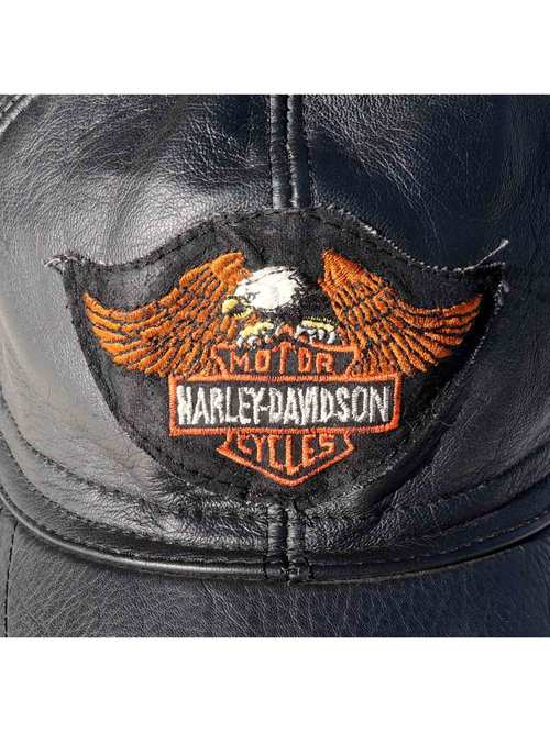 70's~ GENUINE LEATHER HARLEY DAVIDSONパッチ レザーキャップ [FREE]