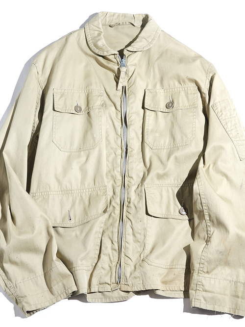 "1950S ""US NAVY"" cotton poplin summer flight jacket -KHAKI-"
