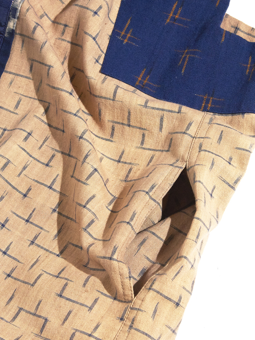 "1980s ""ARISE"" kasuri pattern vest -BEIGE-"