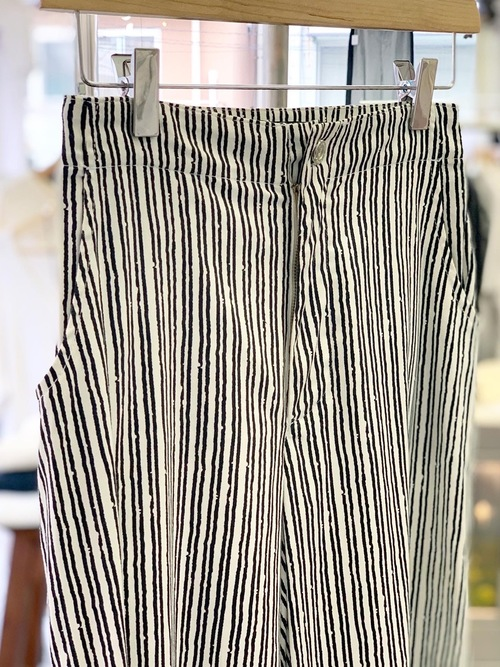 Lady's wide flare cotton stripe pants made in Italy