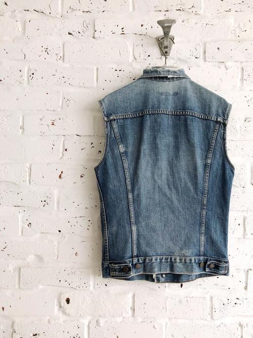 "Vintage 60's USA Levi's 70505 3rd Big ""E"" Cut-Off Sleeveless Denim Jacket"