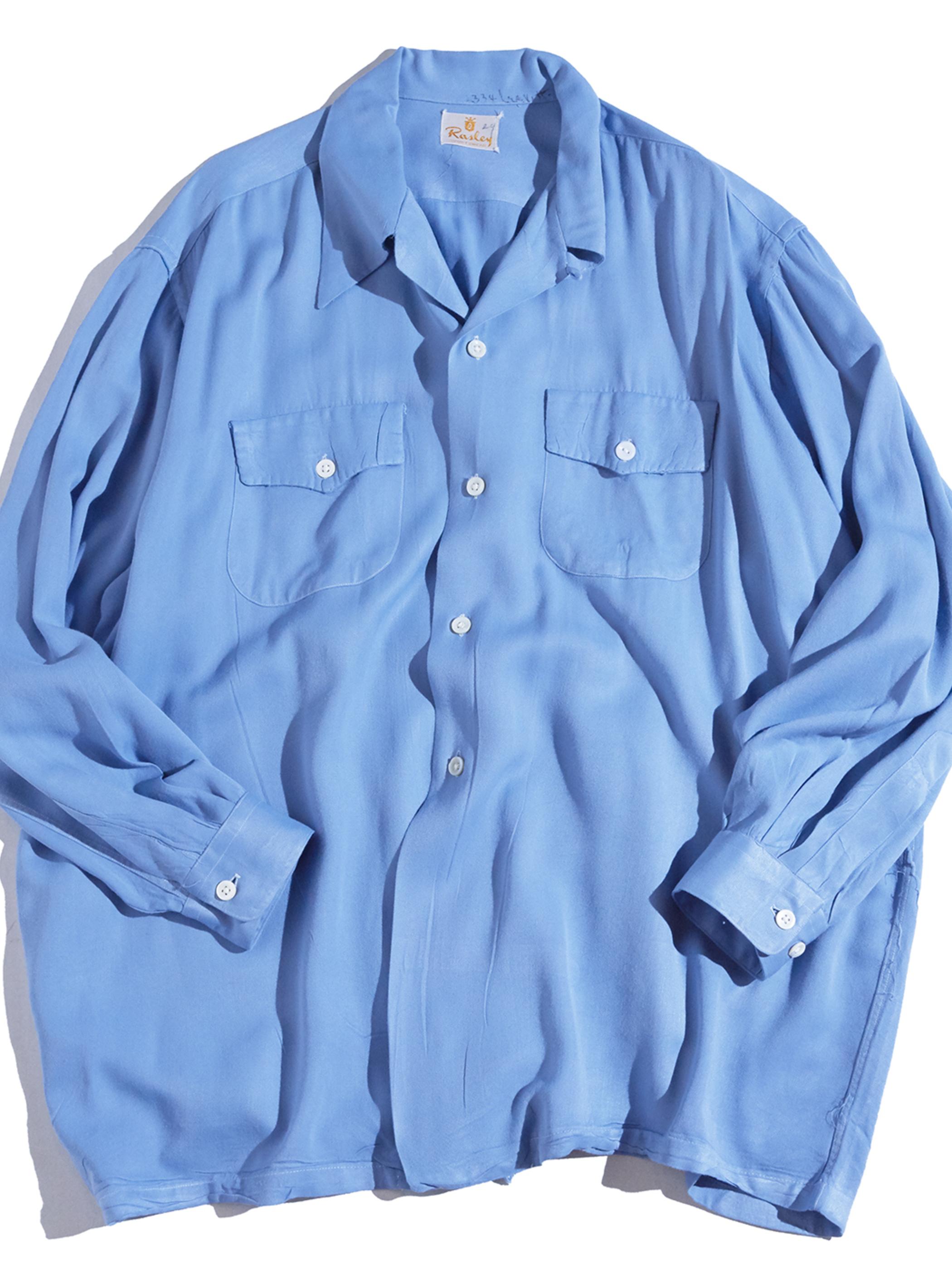 """1940s """"Rasley"""" rayon gabadine shirt -SAX BLUE-"""