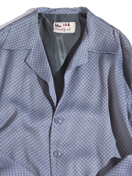 "1950s ""Stratlord"" rayon pattern jacket -GREY-"
