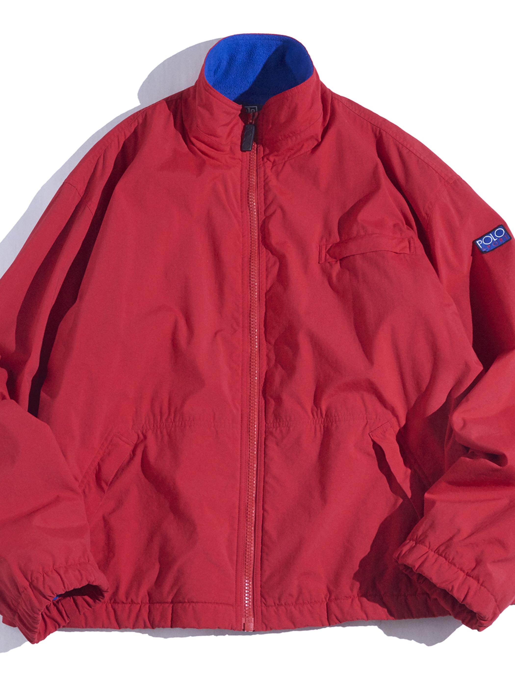 "1990s ""POLO by Ralph Lauren"" nylon/fleece lined jacket -RED-"
