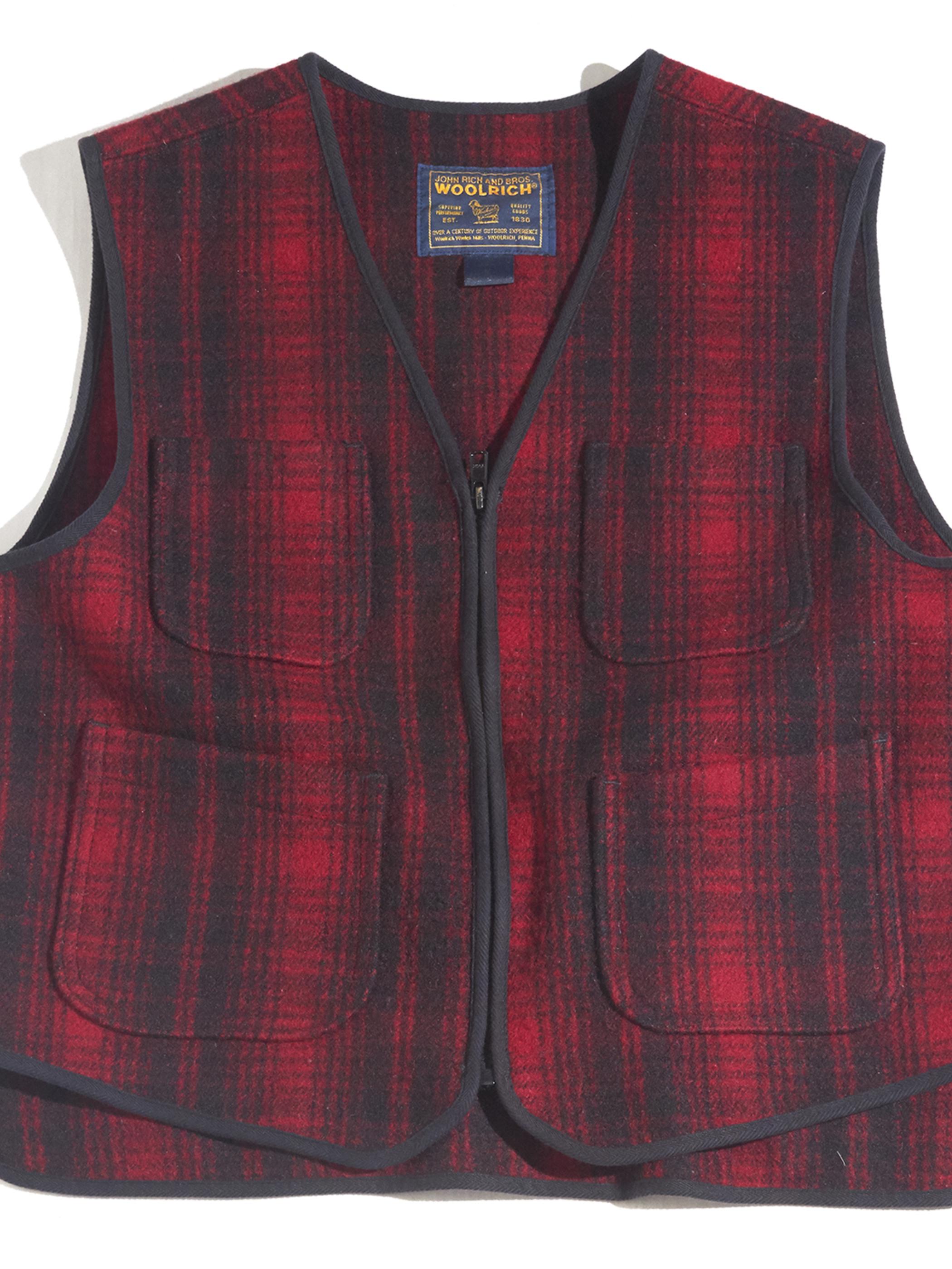"1990s ""WOOLRICH"" melton wool check vest -CHECK- <SALE¥8000→¥6400>"