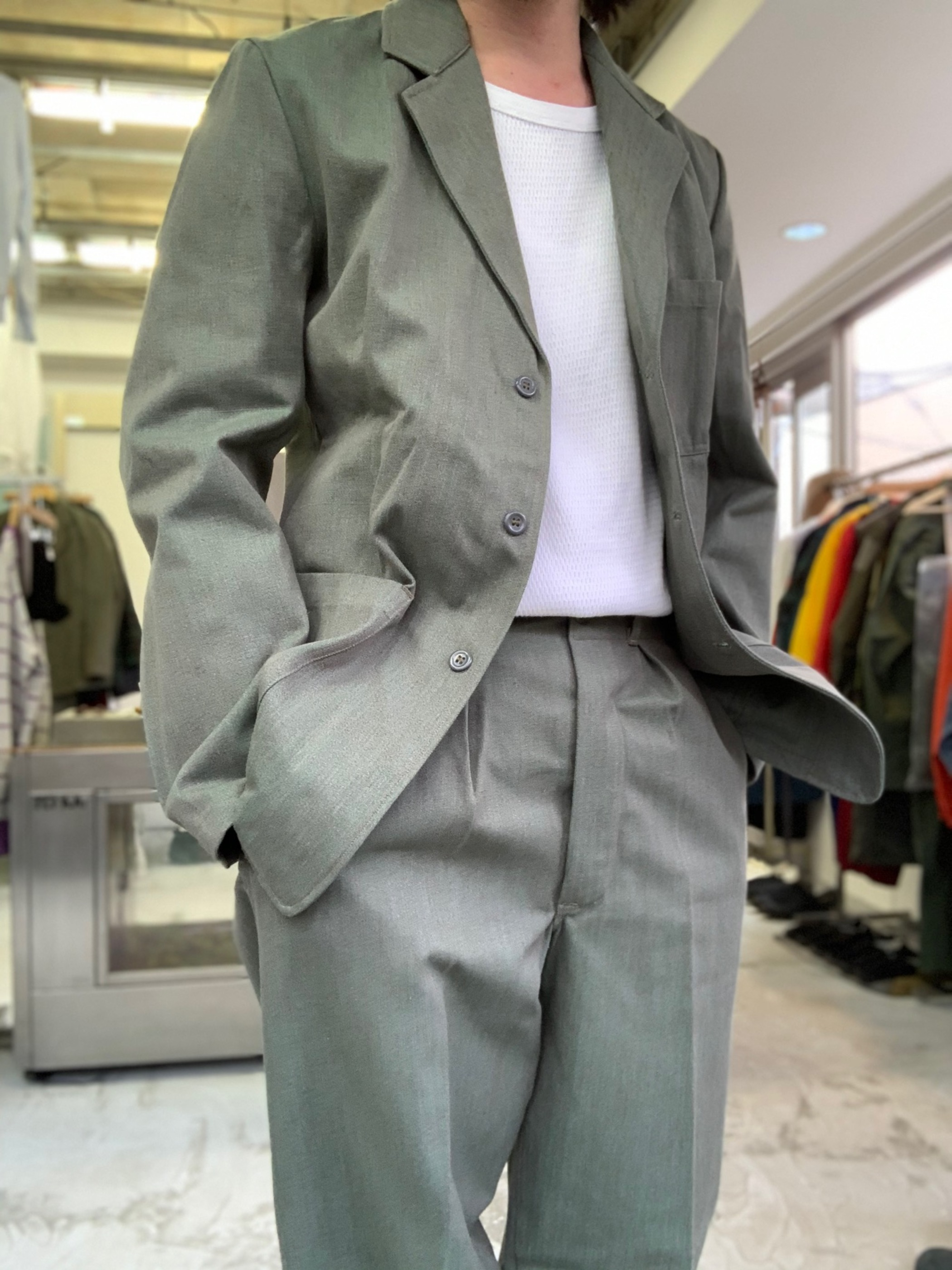 1950's〜1960's Dead stock Swedish military prison work 2piece suits set up