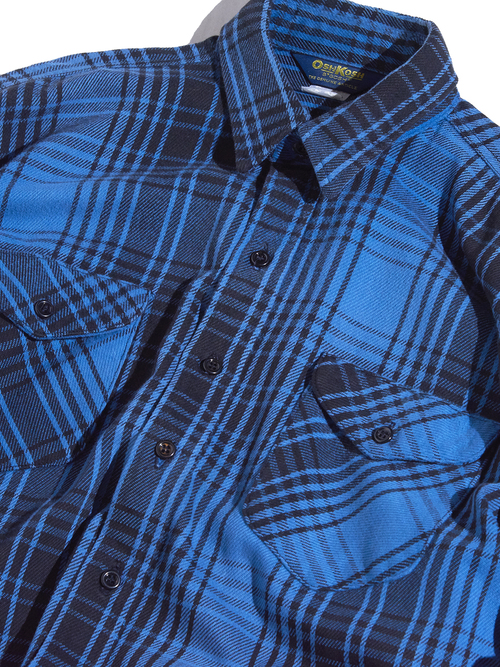 "1980s ""OSH KOSH"" flannel check shirt -BLUE-"