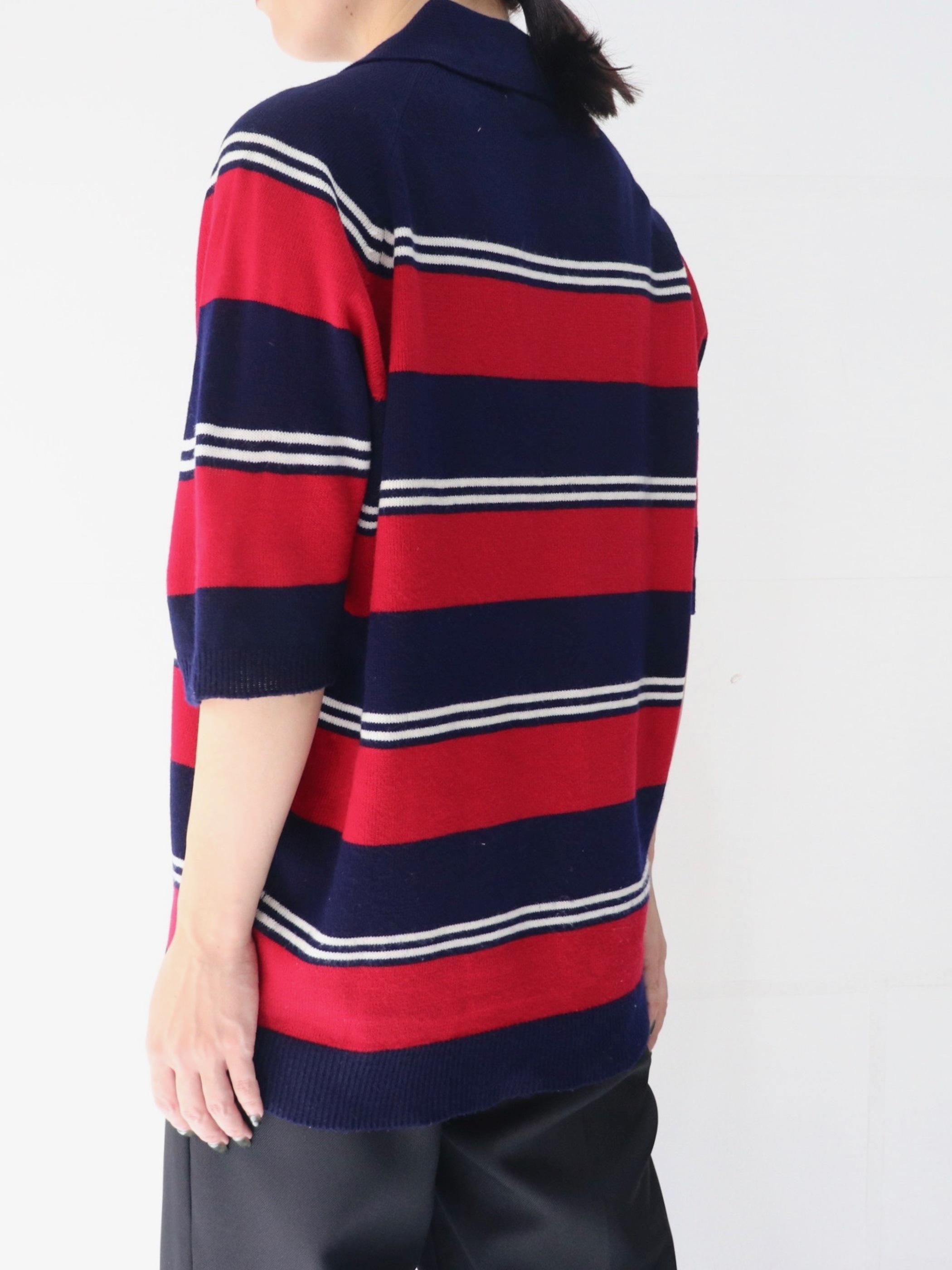 1970s Mulch border pattern knit polo