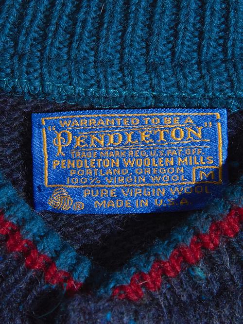 """1970s """"PENDLETON"""" wool henry neck knit -NAVY-"""