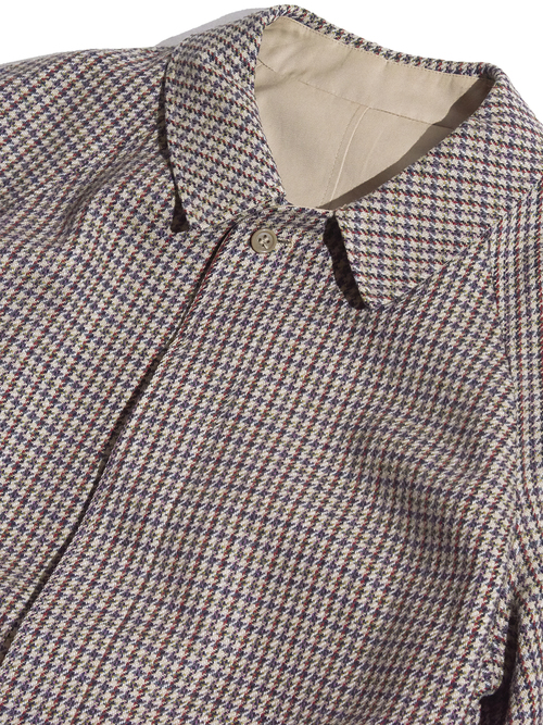 """1970s """"unknown"""" reversible check coat -BEIGE-"""