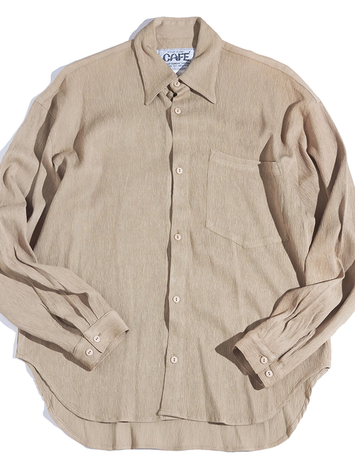 """1980s """"CAFE"""" crepe rayon shirt -BEIGE-"""