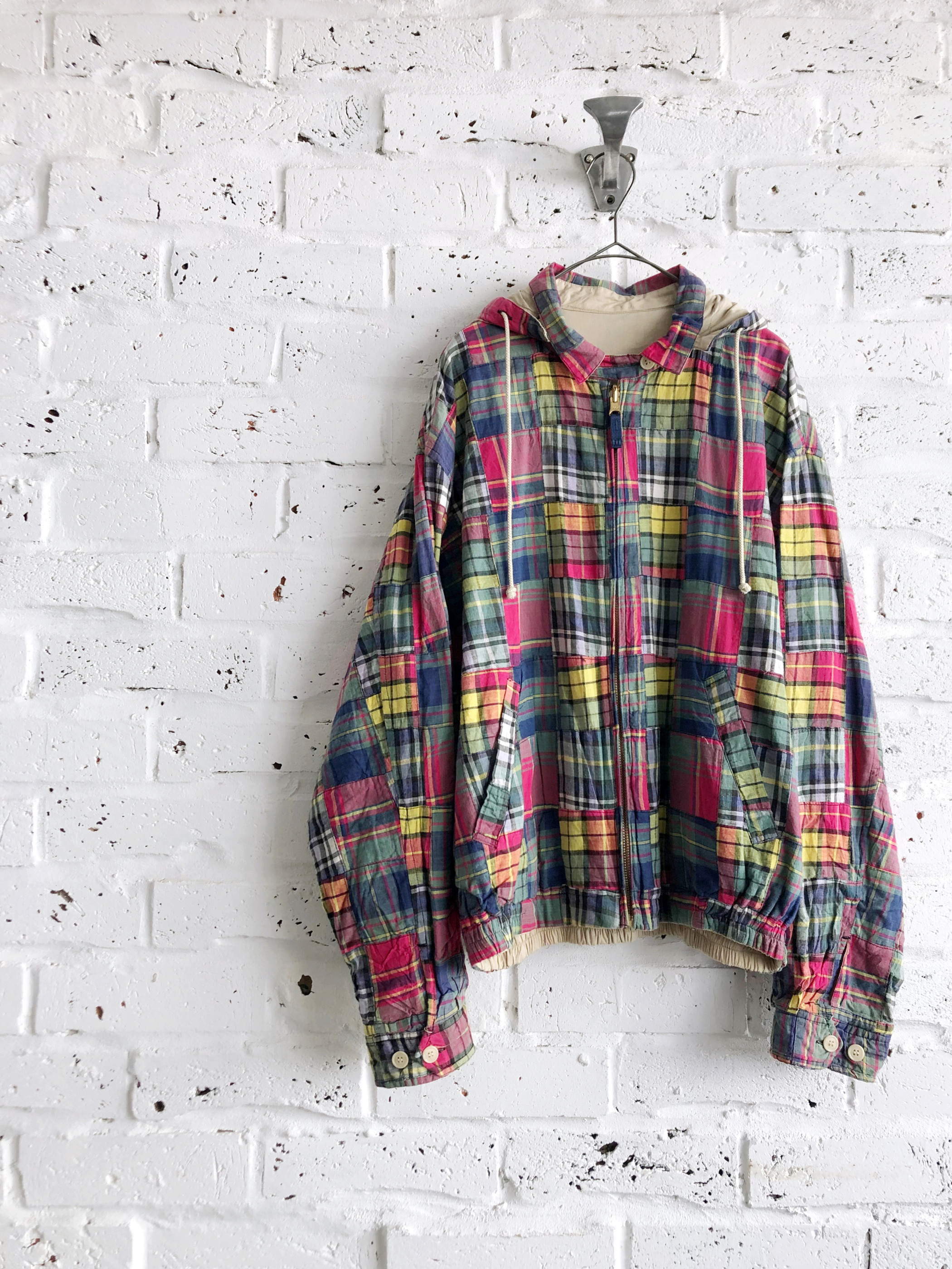 90's《Unknown》Patchwork reversible hoodie Jacket