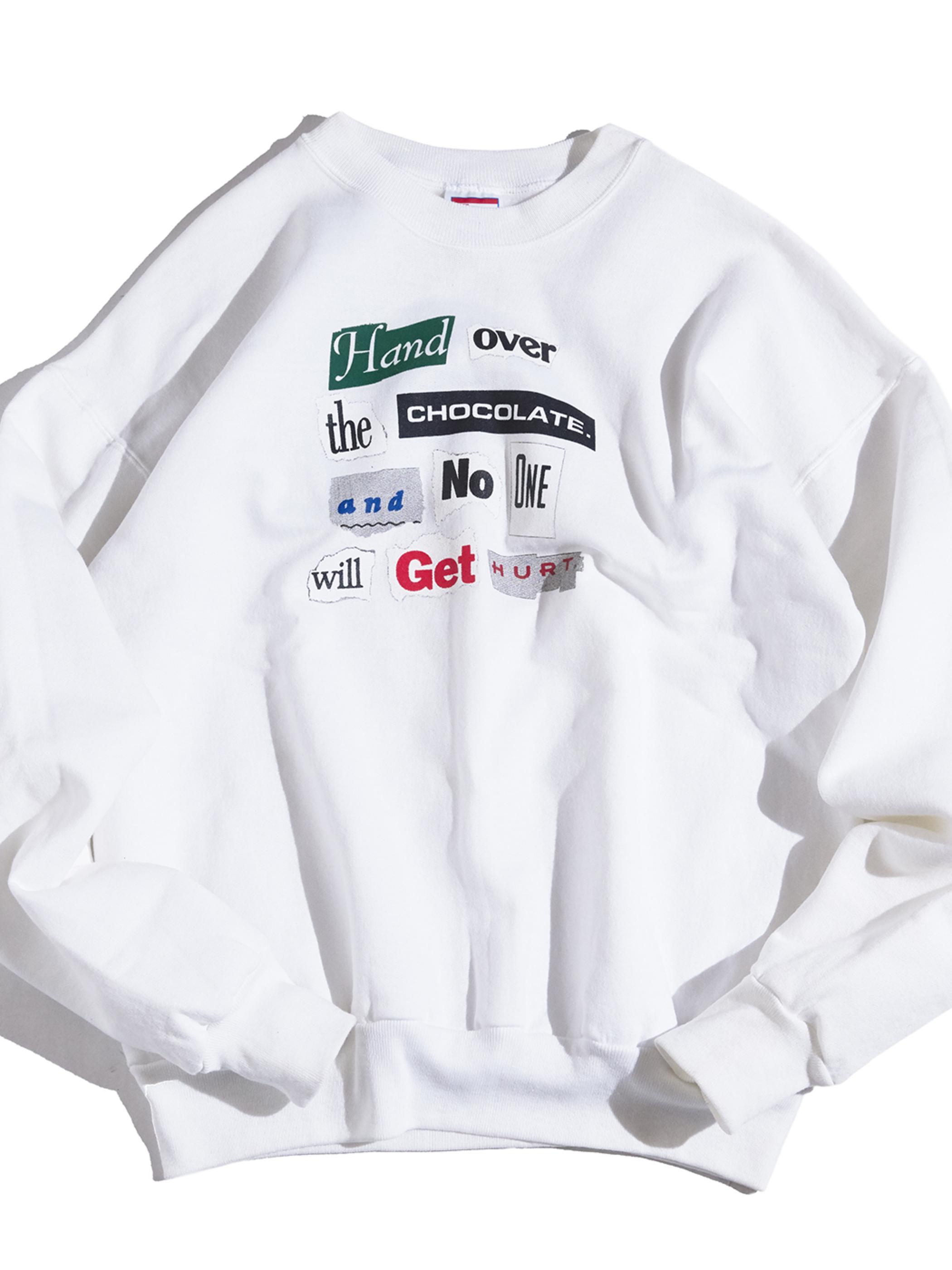 "1990s ""unknown"" print sweat -WHITE-"