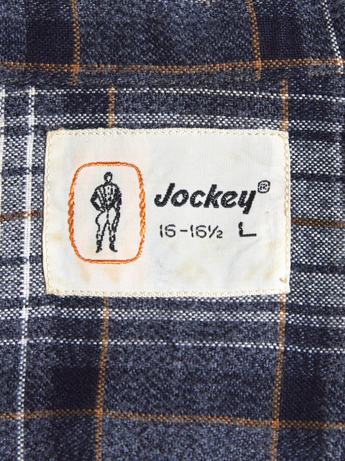 "1960s ""Jockey"" wool/rayon? check shirt -GREY-"