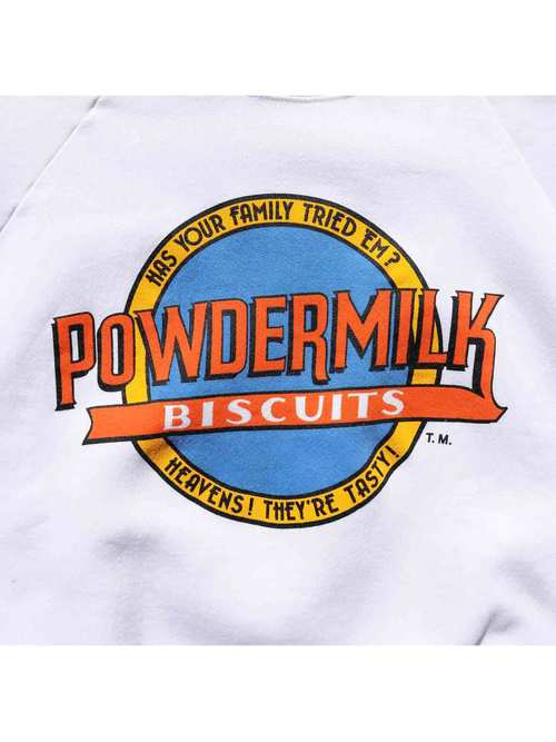"80's~ FRUIT OF THE LOOM ""POWDERMILK BISCUITS"" プリントスウェット [XL]"