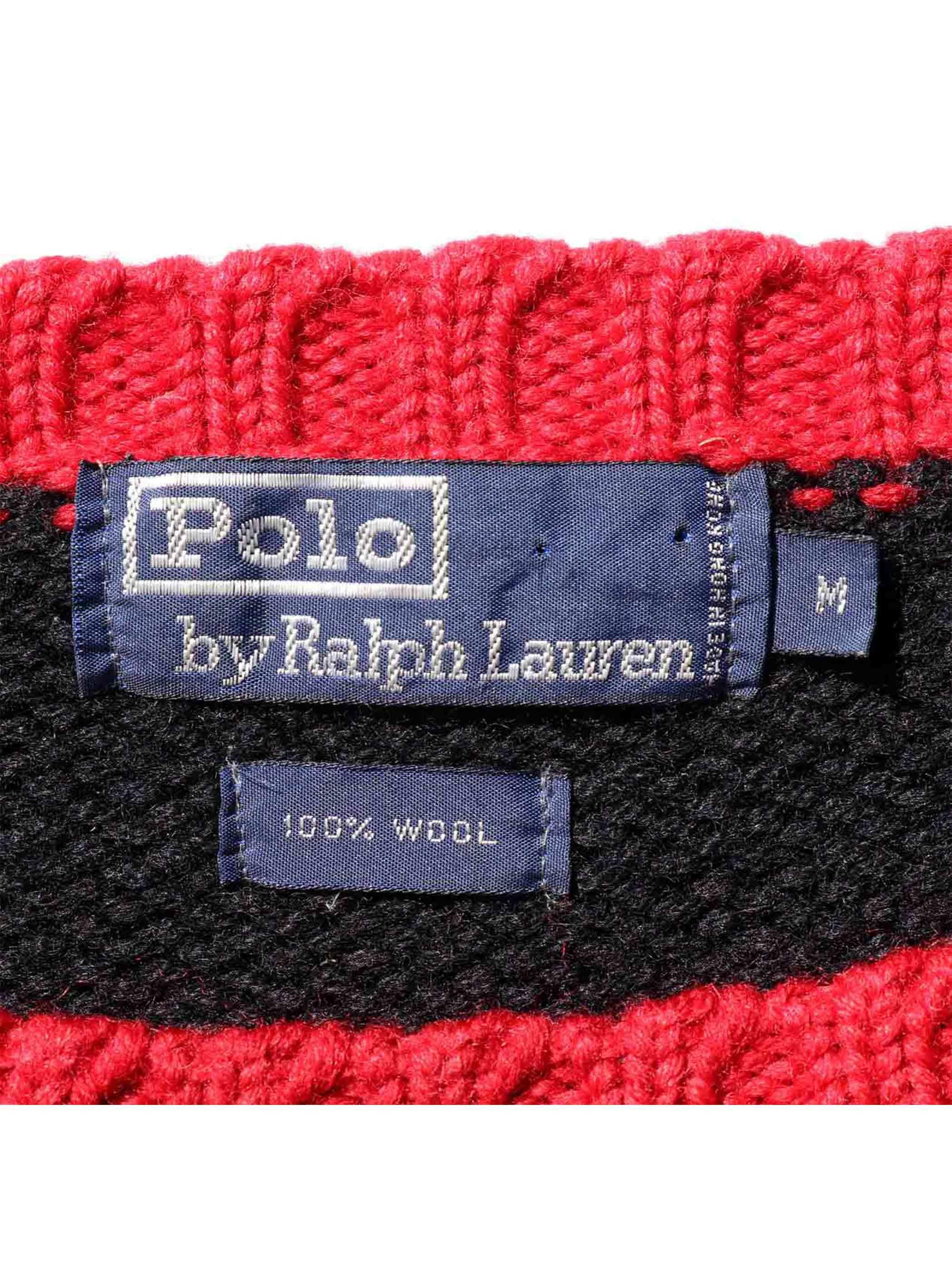 """90's RALPH LAUREN """"ユニバーサルバッジ"""" ローゲージウールニット [M]"""