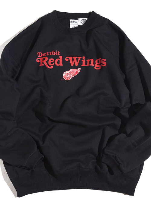 "1990s ""Detroit Red Wings"" print sweat -BLACK-"