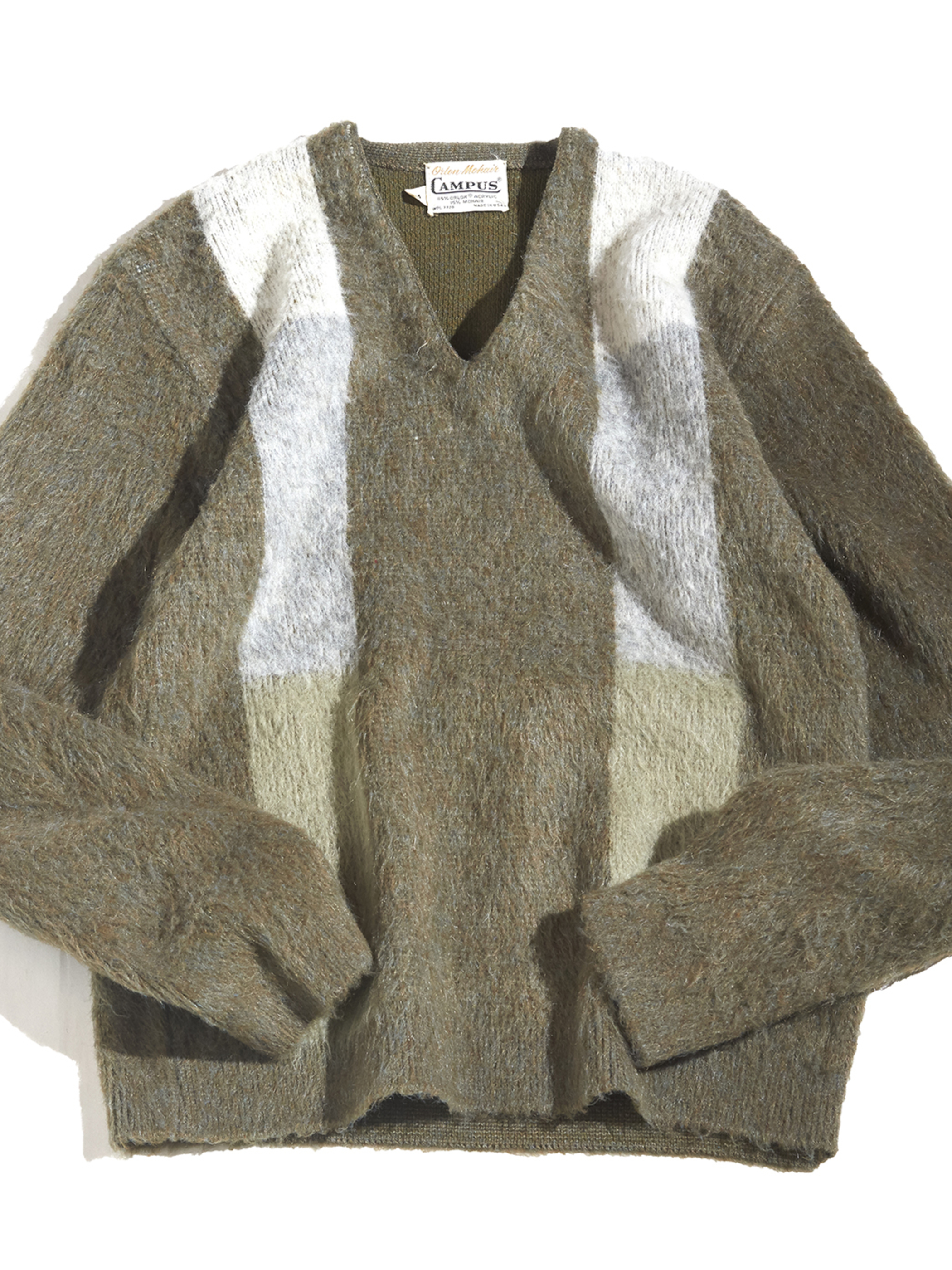 """1960s """"CAMPUS"""" mohair v-neck knit -OLIVE-"""
