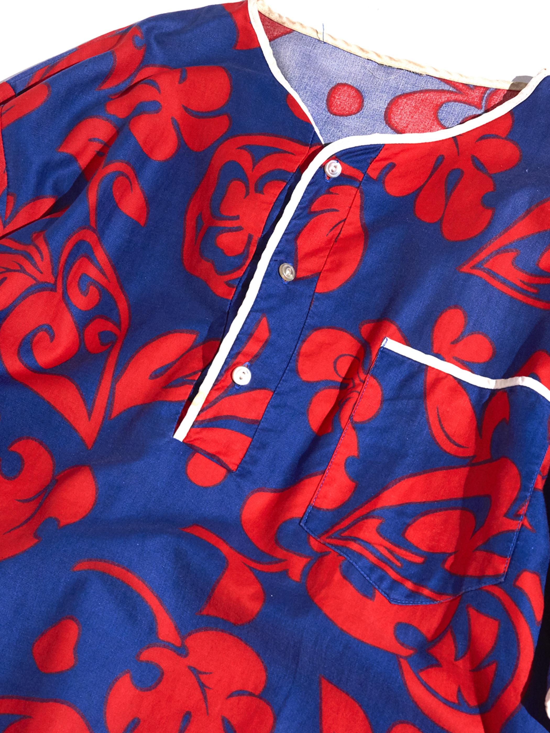 "1960s ""unknown"" s/s batik pattern henry neck cutsew -NAVY-"