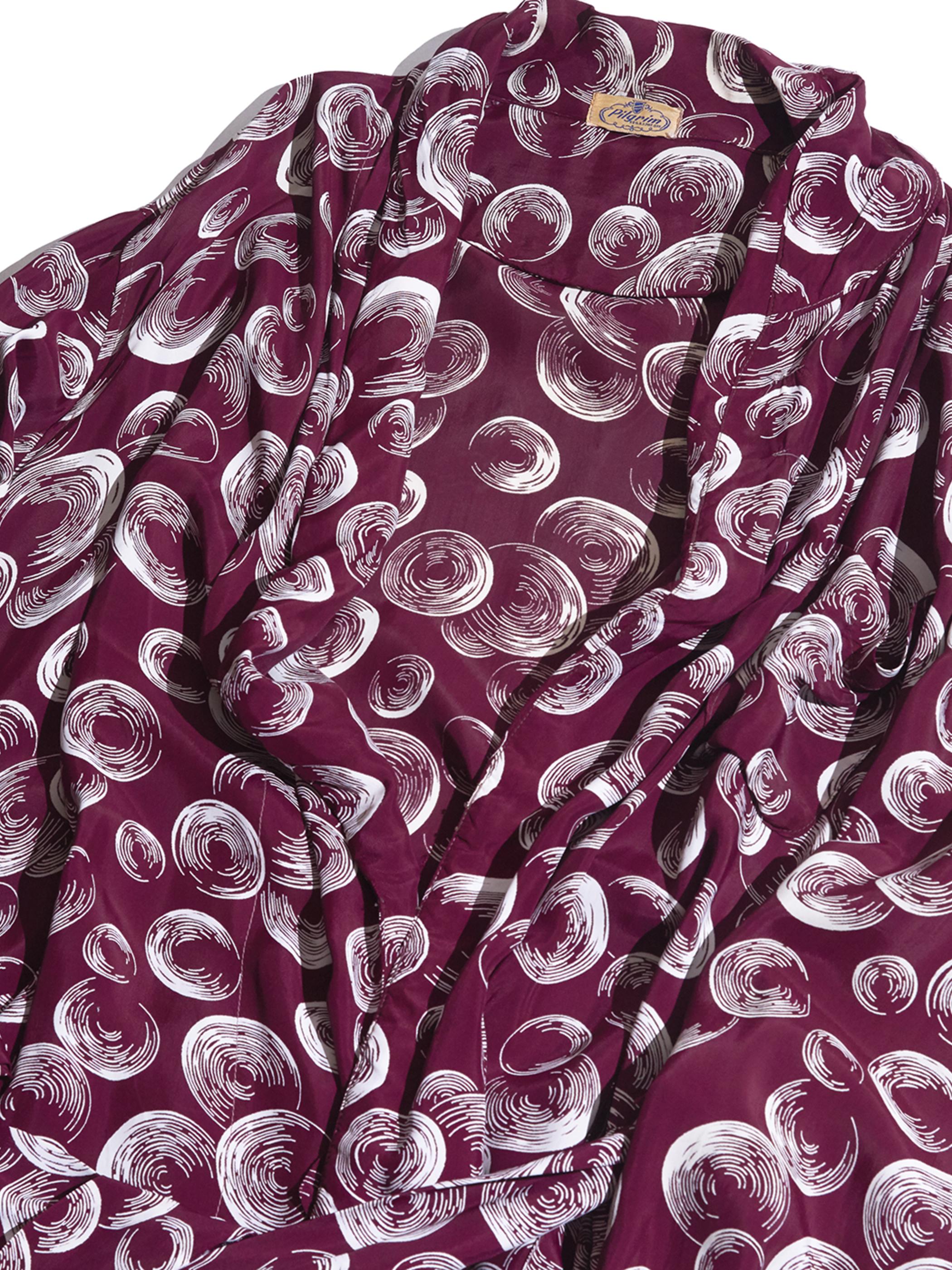 "1950s ""Pilgrim"" rayon pattern gown -BURGANDY-"