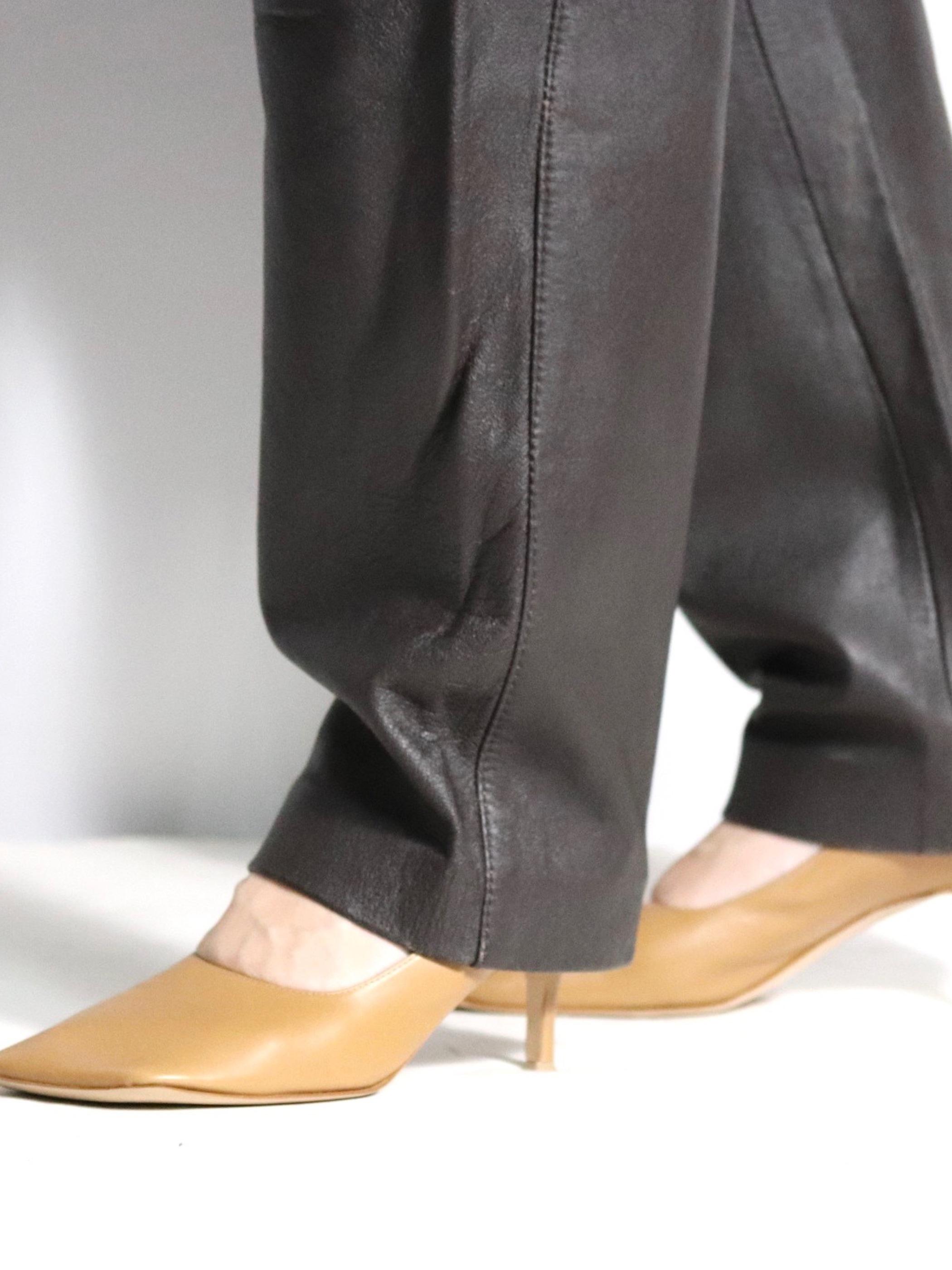 Euro high-waist leather pants