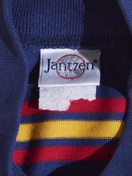 """1980s """"Jantzen"""" mock neck border cutsew -NAVY-"""