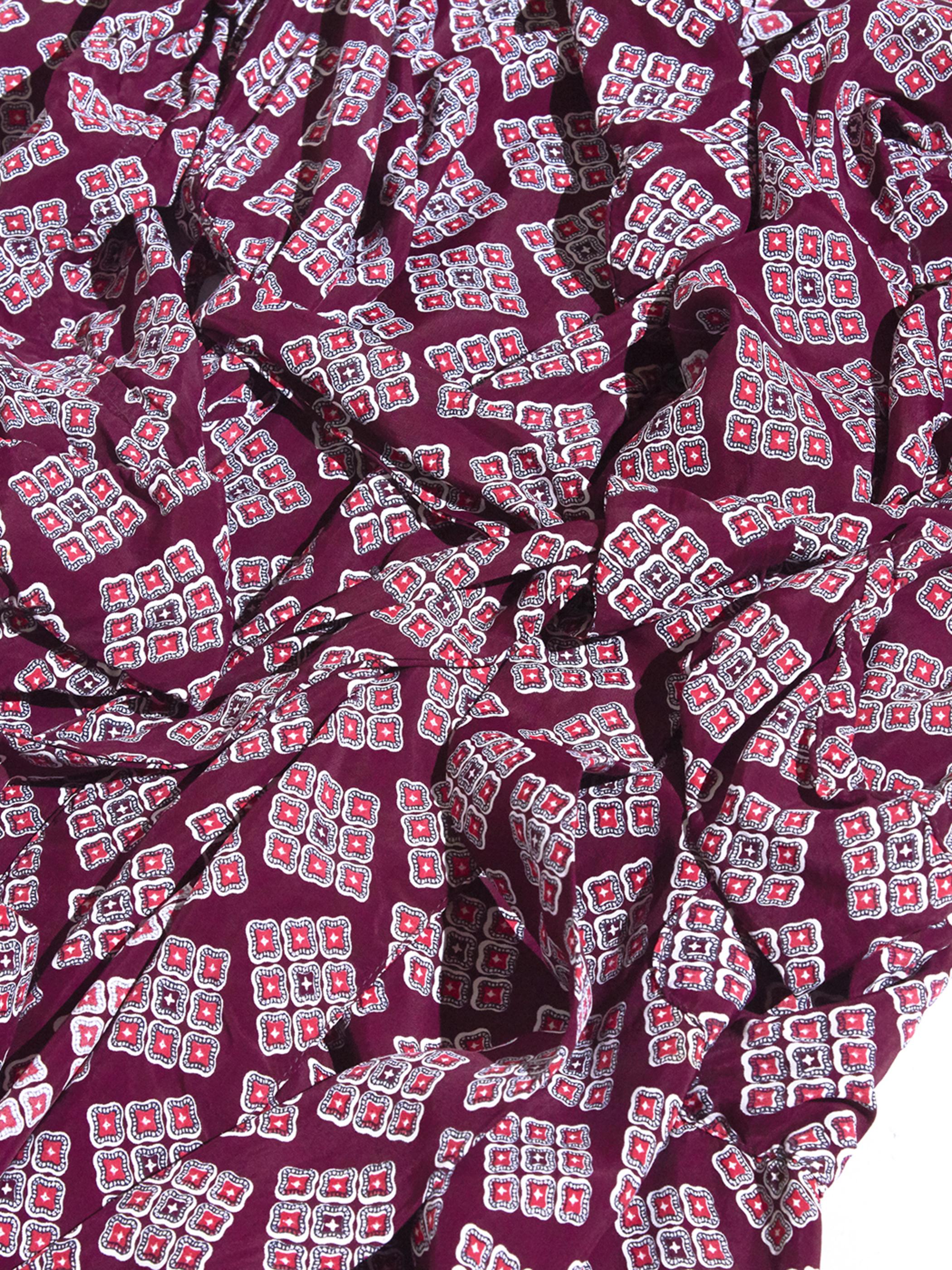 "1960s ""Pilgrim"" rayon pattern gown -BURGANDY- <SALE¥20000→¥16000>"