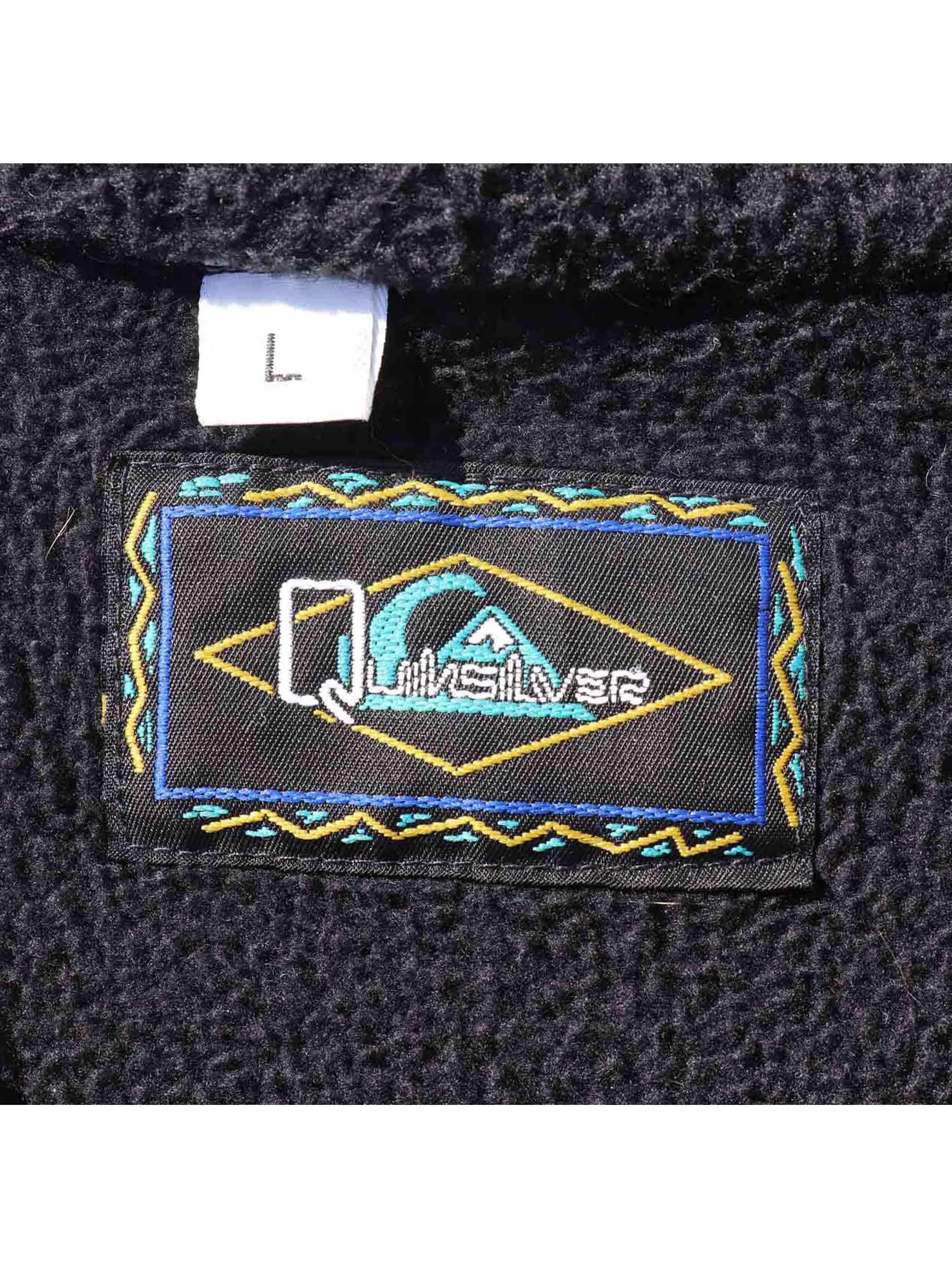 80's QUIKSILVER USA製 ハーフジップ フリースプルオーバー [L]