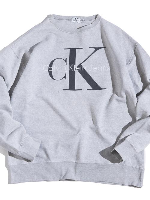 "1990s ""Calvin Klein Jeans"" bootleg print sweat -GREY-"