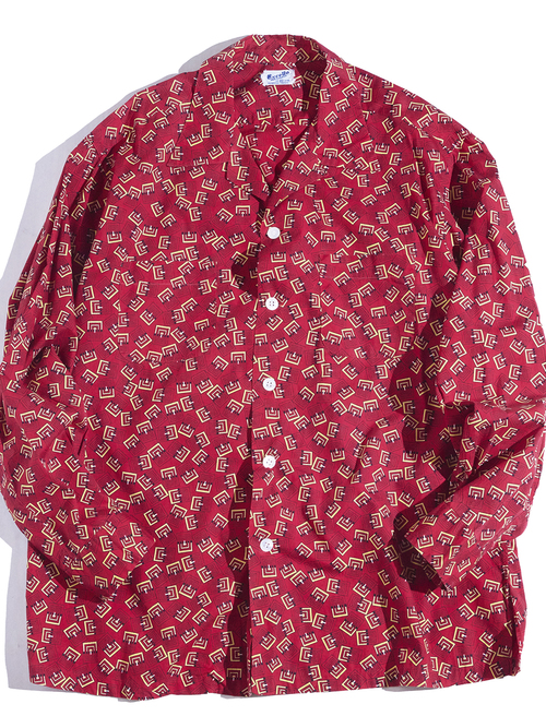 """1950s """"Excello"""" atomic pattern cotton shirt -RED-"""