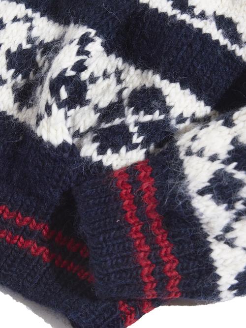 "1990s ""POLO by Ralph Lauren"" wool/alpaca shawl collar hand knit -NAVY-"