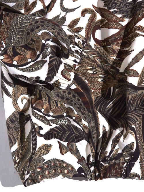 "1980s ""Bon Worth"" print flannel pattern jacket-BROWN-"