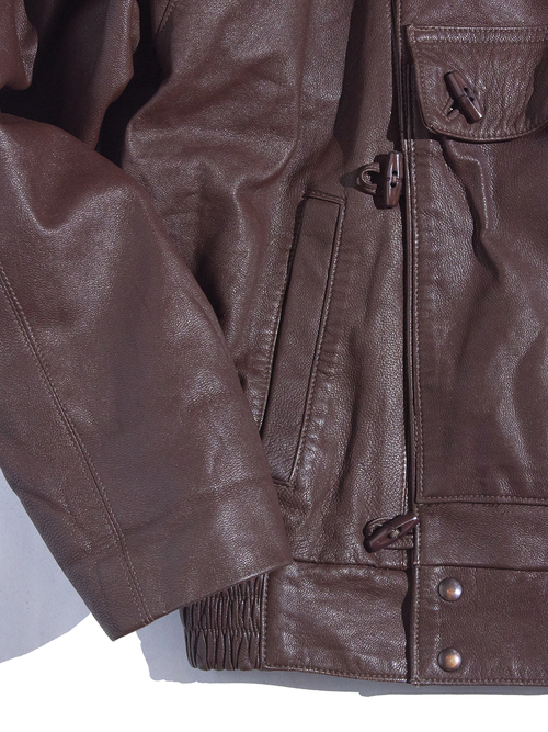 "1990s ""star"" leather motorcycle jacket -BROWN-"