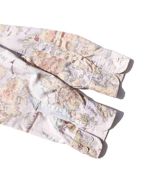 90's BANANA REPUBLIC Map Pattern Cotton Poplin L/S Shirt [S]