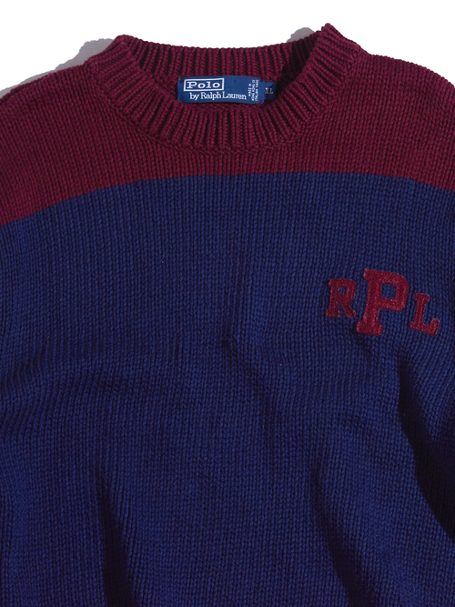 """1990s """"POLO by Ralph Lauren"""" 2tone cotton knit -NAVY-"""