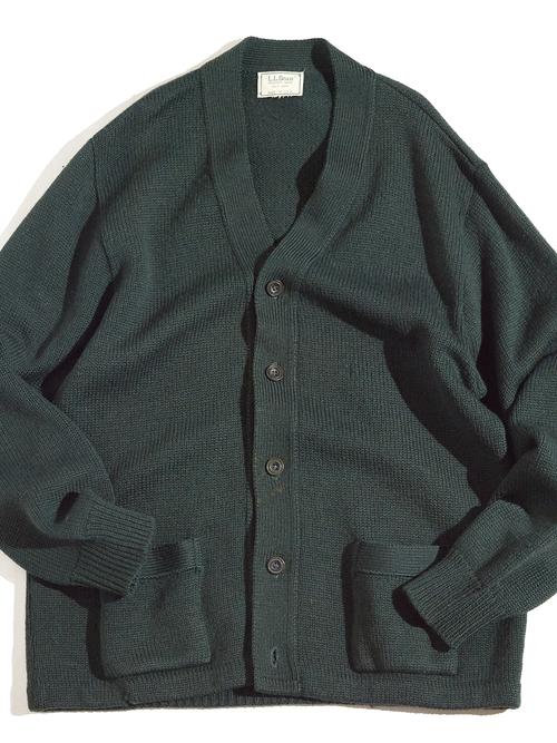 """1970s """"L.L.Bean"""" wool knit cardigan -GREEN-"""