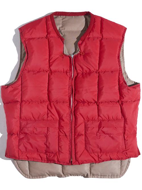 """1960s """"Arctic"""" reversible down vest -BEIGE×RED-"""