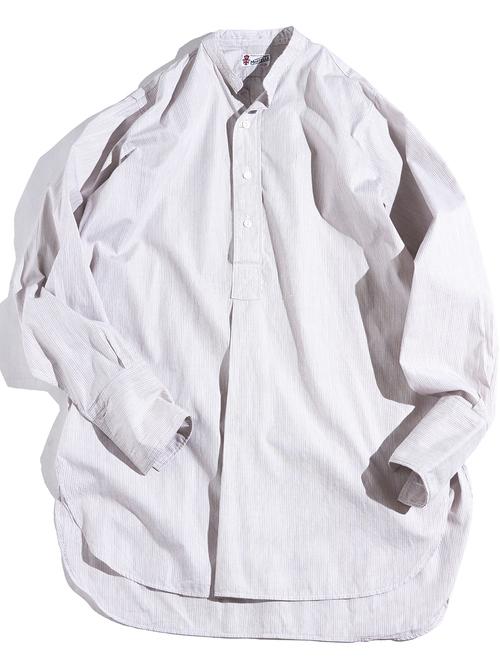 "1950s ""MARTELLA"" pullover stripe dress shirt -BROWN-"