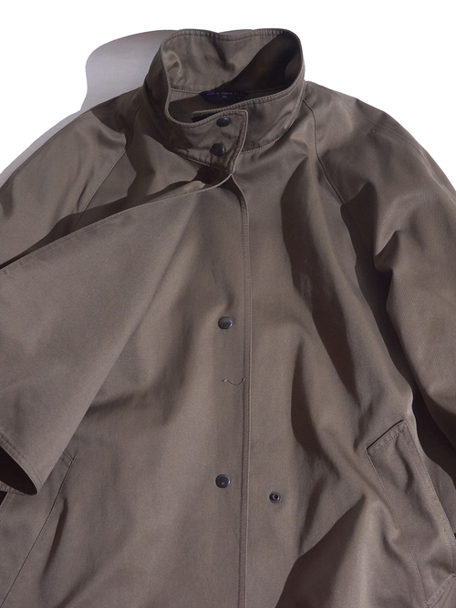 "1980s "" unknown"" stand collar gun flap design coat -KAHKI-"