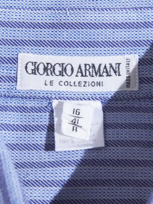 "1980s ""GIORGIO ARMANI"" woven stripe shirt -SAX-"