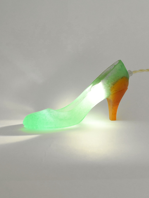 Cinderella+shoes+lamp lime%c3%97orange5