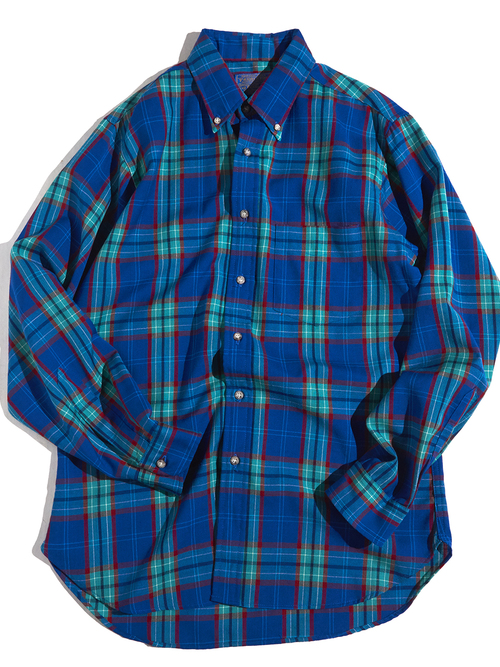 "1970s ""SIR PENDLETON"" wool check shirt -GREEN-"
